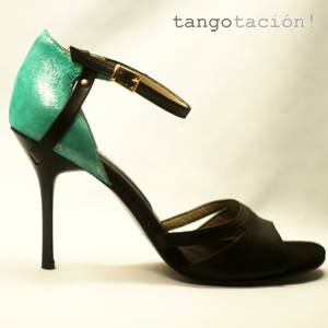 Eveningshoes Lena in blue green and black. designed by Tangotación!